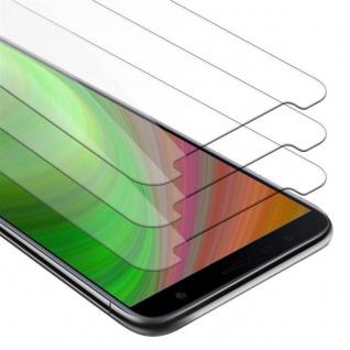 Cadorabo 3x Panzer Folie für Samsung Galaxy J4 PLUS - Schutzfolie in KRISTALL KLAR - 3er Pack Gehärtetes (Tempered) Display-Schutzglas in 9H Härte mit 3D Touch Kompatibilität