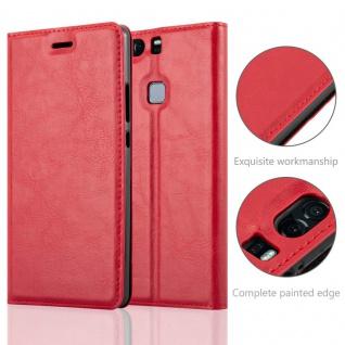 Cadorabo Hülle für Huawei P9 PLUS in APFEL ROT Handyhülle mit Magnetverschluss, Standfunktion und Kartenfach Case Cover Schutzhülle Etui Tasche Book Klapp Style - Vorschau 2