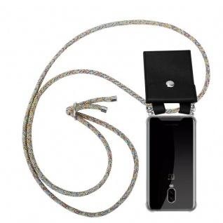 Cadorabo Handy Kette für OnePlus 6T in RAINBOW Silikon Necklace Umhänge Hülle mit Silber Ringen, Kordel Band Schnur und abnehmbarem Etui Schutzhülle