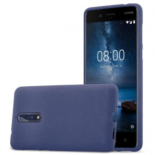 Cadorabo Hülle für Nokia 8 2017 in FROST DUNKEL BLAU - Handyhülle aus flexiblem TPU Silikon - Silikonhülle Schutzhülle Ultra Slim Soft Back Cover Case Bumper