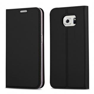 Cadorabo Hülle für Samsung Galaxy S6 EDGE PLUS in CLASSY SCHWARZ - Handyhülle mit Magnetverschluss, Standfunktion und Kartenfach - Case Cover Schutzhülle Etui Tasche Book Klapp Style
