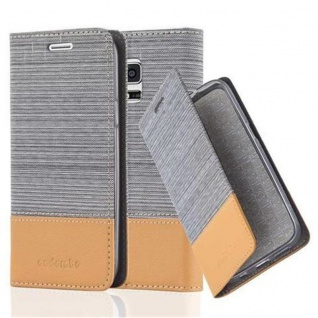 Cadorabo Hülle für Samsung Galaxy S5 MINI / S5 MINI DUOS in HELL GRAU BRAUN Handyhülle mit Magnetverschluss, Standfunktion und Kartenfach Case Cover Schutzhülle Etui Tasche Book Klapp Style