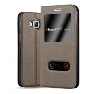 Cadorabo Hülle für Samsung Galaxy J5 2015 in STEIN BRAUN - Handyhülle mit Magnetverschluss, Standfunktion und 2 Sichtfenstern - Case Cover Schutzhülle Etui Tasche Book Klapp Style