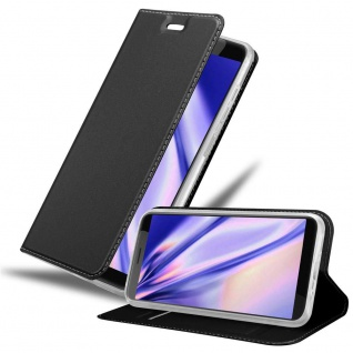 Cadorabo Hülle für HTC Desire 12 in CLASSY SCHWARZ - Handyhülle mit Magnetverschluss, Standfunktion und Kartenfach - Case Cover Schutzhülle Etui Tasche Book Klapp Style