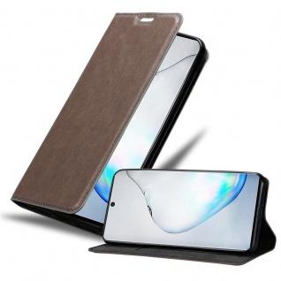 Cadorabo Hülle für Samsung Galaxy NOTE 10 in KAFFEE BRAUN Handyhülle mit Magnetverschluss, Standfunktion und Kartenfach Case Cover Schutzhülle Etui Tasche Book Klapp Style