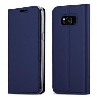 Cadorabo Hülle für Samsung Galaxy S8 in CLASSY DUNKEL BLAU - Handyhülle mit Magnetverschluss, Standfunktion und Kartenfach - Case Cover Schutzhülle Etui Tasche Book Klapp Style