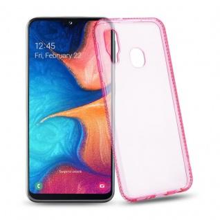 Cadorabo Hülle für Samsung Galaxy A20e - Hülle in TRANSPARENT ROSA ? Handyhülle aus TPU Silikon im Strass Design - Silikonhülle Schutzhülle Ultra Slim Soft Back Cover Case Bumper