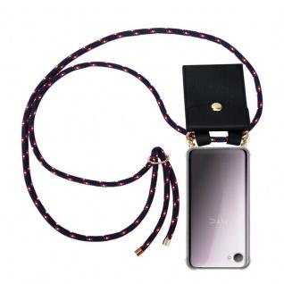 Cadorabo Handy Kette für HTC Desire 12 in BLAU ROT WEISS GEPUNKTET - Silikon Necklace Umhänge Hülle mit Gold Ringen, Kordel Band Schnur und abnehmbarem Etui ? Schutzhülle