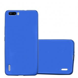 Cadorabo Hülle für Honor 6 PLUS in METALLIC BLAU Handyhülle aus flexiblem TPU Silikon Silikonhülle Schutzhülle Ultra Slim Soft Back Cover Case Bumper