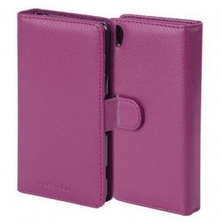 Cadorabo Hülle für Sony Xperia X in BORDEAUX LILA ? Handyhülle mit Magnetverschluss und 3 Kartenfächern ? Case Cover Schutzhülle Etui Tasche Book Klapp Style