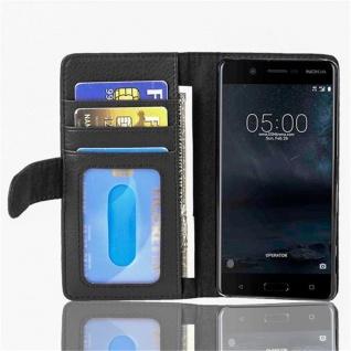 Cadorabo Hülle für Nokia 5 2017 in OXID SCHWARZ Handyhülle mit Magnetverschluss und 3 Kartenfächern Case Cover Schutzhülle Etui Tasche Book Klapp Style