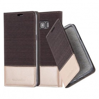 Cadorabo Hülle für Samsung Galaxy S8 in ANTRAZIT GOLD - Handyhülle mit Magnetverschluss, Standfunktion und Kartenfach - Case Cover Schutzhülle Etui Tasche Book Klapp Style