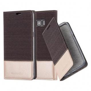 Cadorabo Hülle für Samsung Galaxy S8 in ANTRAZIT GOLD Handyhülle mit Magnetverschluss, Standfunktion und Kartenfach Case Cover Schutzhülle Etui Tasche Book Klapp Style