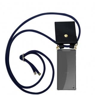 Cadorabo Handy Kette für Sony Xperia XA in TIEF BLAU - Silikon Necklace Umhänge Hülle mit Gold Ringen, Kordel Band Schnur und abnehmbarem Etui ? Schutzhülle