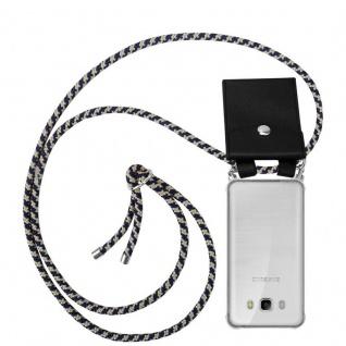 Cadorabo Handy Kette für Samsung Galaxy J5 2016 in DUNKELBLAU GELB - Silikon Necklace Umhänge Hülle mit Silber Ringen, Kordel Band Schnur und abnehmbarem Etui - Schutzhülle
