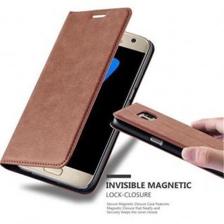 Cadorabo Hülle für Samsung Galaxy S7 in CAPPUCCINO BRAUN - Handyhülle mit Magnetverschluss, Standfunktion und Kartenfach - Case Cover Schutzhülle Etui Tasche Book Klapp Style