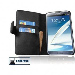 Cadorabo Hülle für Samsung Galaxy NOTE 2 in KAVIAR SCHWARZ Handyhülle aus glattem Kunstleder mit Standfunktion und Kartenfach Case Cover Schutzhülle Etui Tasche Book Klapp Style