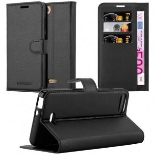 Cadorabo Hülle für WIKO TOMMY 3 in PHANTOM SCHWARZ - Handyhülle mit Magnetverschluss, Standfunktion und Kartenfach - Case Cover Schutzhülle Etui Tasche Book Klapp Style
