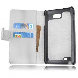 Cadorabo Hülle für Samsung Galaxy NOTE 1 in POLAR WEIß - Handyhülle aus glattem Kunstleder mit Standfunktion und Kartenfach - Case Cover Schutzhülle Etui Tasche Book Klapp Style - Vorschau 2