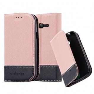 Cadorabo Hülle für Samsung Galaxy TREND LITE in GOLD SCHWARZ ? Handyhülle mit Magnetverschluss, Standfunktion und Kartenfach ? Case Cover Schutzhülle Etui Tasche Book Klapp Style