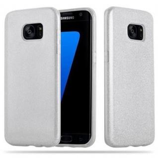 Cadorabo Hülle für Samsung Galaxy S7 EDGE - Hülle in STERNENSTAUB SILBER - TPU Silikon und Hardcase Handyhülle im Glitzer Design - Hard Case TPU Silikon Schutzhülle