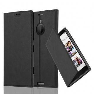 Cadorabo Hülle für Nokia Lumia 1520 in NACHT SCHWARZ - Handyhülle mit Magnetverschluss, Standfunktion und Kartenfach - Case Cover Schutzhülle Etui Tasche Book Klapp Style