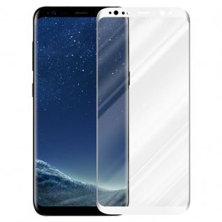 Cadorabo Vollbild Panzer Folie für Samsung Galaxy S8 - Schutzfolie in TRANSPARENT mit WEISS - Gehärtetes (Tempered) Display-Schutzglas in 9H Härte mit 3D Touch Kompatibilität - Vorschau 2
