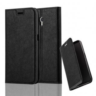 Cadorabo Hülle für ZTE BLADE V7 in NACHT SCHWARZ - Handyhülle mit Magnetverschluss, Standfunktion und Kartenfach - Case Cover Schutzhülle Etui Tasche Book Klapp Style