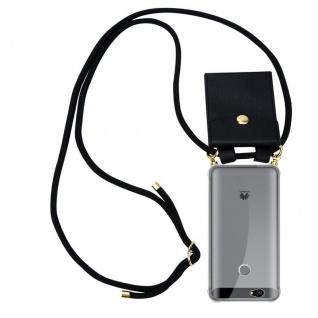 Cadorabo Handy Kette für Huawei NOVA in SCHWARZ - Silikon Necklace Umhänge Hülle mit Gold Ringen, Kordel Band Schnur und abnehmbarem Etui ? Schutzhülle