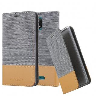 Cadorabo Hülle für WIKO JERRY 3 in HELL GRAU BRAUN - Handyhülle mit Magnetverschluss, Standfunktion und Kartenfach - Case Cover Schutzhülle Etui Tasche Book Klapp Style