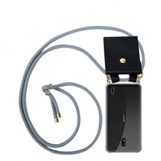 Cadorabo Handy Kette für Nokia 1 PLUS in SILBER GRAU Silikon Necklace Umhänge Hülle mit Gold Ringen, Kordel Band Schnur und abnehmbarem Etui Schutzhülle