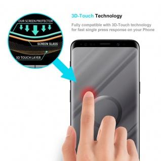 Cadorabo Panzer Folie voll klebend für Samsung Galaxy S9 Plus - Schutzfolie in TRANSPARENT mit SCHWARZ - Gehärtetes Full Glue (Tempered) Display-Schutzglas in 9H Härte mit 3D Touch Kompatibilität - Vorschau 5