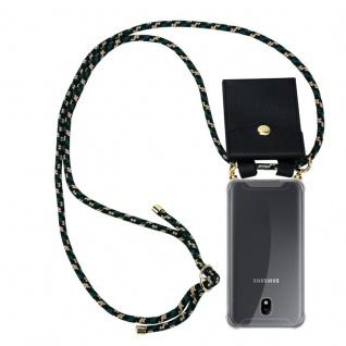 Cadorabo Handy Kette für Samsung Galaxy J7 2018 in CAMOUFLAGE - Silikon Necklace Umhänge Hülle mit Gold Ringen, Kordel Band Schnur und abnehmbarem Etui ? Schutzhülle