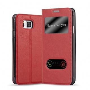 Cadorabo Hülle für Samsung Galaxy ALPHA in SAFRAN ROT ? Handyhülle mit Magnetverschluss, Standfunktion und 2 Sichtfenstern ? Case Cover Schutzhülle Etui Tasche Book Klapp Style
