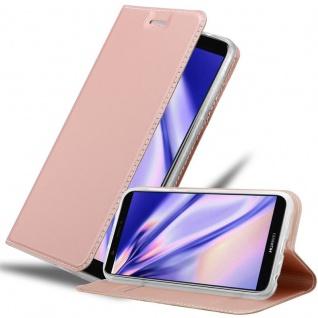 Cadorabo Hülle für Huawei P SMART 2018 / Enjoy 7S in CLASSY ROSÉ GOLD Handyhülle mit Magnetverschluss, Standfunktion und Kartenfach Case Cover Schutzhülle Etui Tasche Book Klapp Style