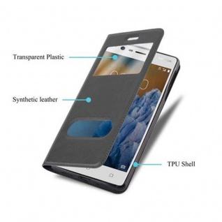 Cadorabo Hülle für Nokia 3 2017 in KOMETEN SCHWARZ - Handyhülle mit Magnetverschluss, Standfunktion und 2 Sichtfenstern - Case Cover Schutzhülle Etui Tasche Book Klapp Style - Vorschau 3