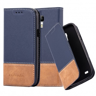 Cadorabo Hülle für Samsung Galaxy S4 MINI in BLAU BRAUN ? Handyhülle mit Magnetverschluss, Standfunktion und Kartenfach ? Case Cover Schutzhülle Etui Tasche Book Klapp Style