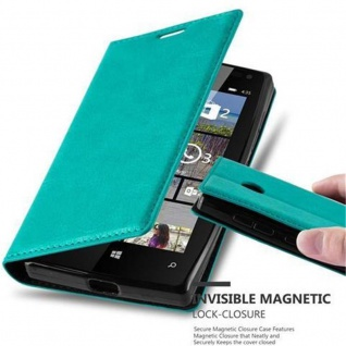 Cadorabo Hülle für Nokia Lumia 435 in PETROL TÜRKIS Handyhülle mit Magnetverschluss, Standfunktion und Kartenfach Case Cover Schutzhülle Etui Tasche Book Klapp Style