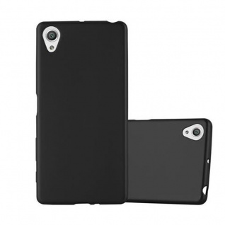 Cadorabo Hülle für Sony Xperia X - Hülle in METALLIC SCHWARZ ? Handyhülle aus TPU Silikon im Matt Metallic Design - Ultra Slim Soft Backcover Case Bumper