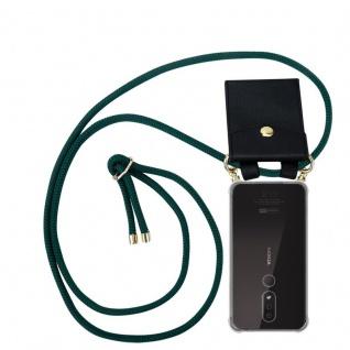 Cadorabo Handy Kette für Nokia 4.2 in ARMEE GRÜN Silikon Necklace Umhänge Hülle mit Gold Ringen, Kordel Band Schnur und abnehmbarem Etui Schutzhülle