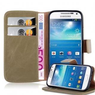 Cadorabo Hülle für Samsung Galaxy S4 MINI in CAPPUCCINO BRAUN ? Handyhülle mit Magnetverschluss, Standfunktion und Kartenfach ? Case Cover Schutzhülle Etui Tasche Book Klapp Style