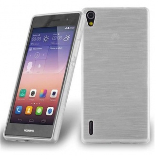 Cadorabo Hülle für Huawei P7 in SILBER Handyhülle aus flexiblem TPU Silikon Silikonhülle Schutzhülle Ultra Slim Soft Back Cover Case Bumper