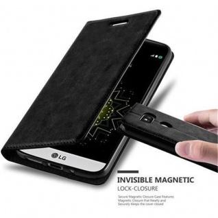 Cadorabo Hülle für LG G5 in NACHT SCHWARZ - Handyhülle mit Magnetverschluss, Standfunktion und Kartenfach - Case Cover Schutzhülle Etui Tasche Book Klapp Style