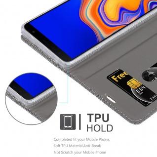 Cadorabo Hülle für Samsung Galaxy J4 PLUS in HELL GRAU BRAUN - Handyhülle mit Magnetverschluss, Standfunktion und Kartenfach - Case Cover Schutzhülle Etui Tasche Book Klapp Style