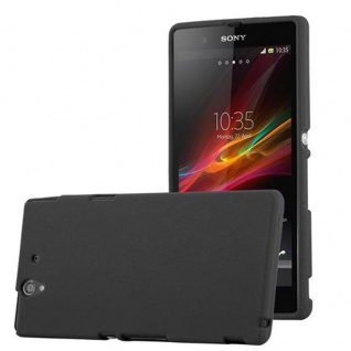 Cadorabo Hülle für Sony Xperia Z in FROST SCHWARZ - Handyhülle aus flexiblem TPU Silikon - Silikonhülle Schutzhülle Ultra Slim Soft Back Cover Case Bumper