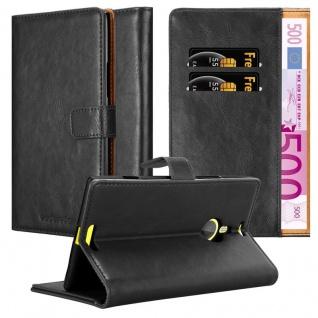 Cadorabo Hülle für Nokia Lumia 1520 in GRAPHIT SCHWARZ - Handyhülle mit Magnetverschluss, Standfunktion und Kartenfach - Case Cover Schutzhülle Etui Tasche Book Klapp Style