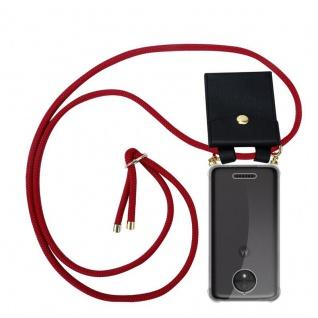 Cadorabo Handy Kette für Motorola MOTO C PLUS in RUBIN ROT Silikon Necklace Umhänge Hülle mit Gold Ringen, Kordel Band Schnur und abnehmbarem Etui Schutzhülle