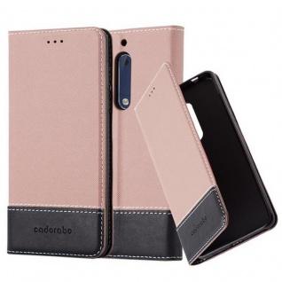 Cadorabo Hülle für Nokia 5 2017 in GOLD SCHWARZ ? Handyhülle mit Magnetverschluss, Standfunktion und Kartenfach ? Case Cover Schutzhülle Etui Tasche Book Klapp Style