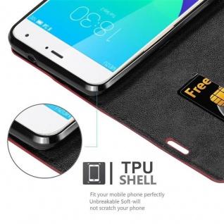 Cadorabo Hülle für MEIZU MX4 in APFEL ROT Handyhülle mit Magnetverschluss, Standfunktion und Kartenfach Case Cover Schutzhülle Etui Tasche Book Klapp Style - Vorschau 5
