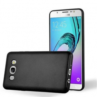 Cadorabo Hülle für Samsung Galaxy J7 2016 in METALLIC SCHWARZ - Handyhülle aus flexiblem TPU Silikon - Silikonhülle Schutzhülle Ultra Slim Soft Back Cover Case Bumper
